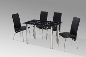 4 Leatherette chairs with Glass Table - £285