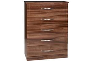 Torino Gloss Walnut 5 Draw Chest - £299