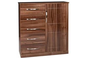 Torino Gloss Walnut Combi Chest - £379